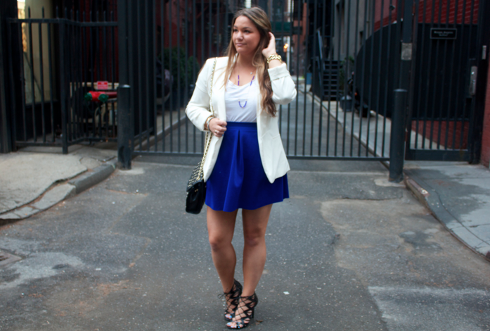 missyonmadison blog blogger style styleblog cobalt blue blueskirt whiteblazer rebeccaminkoff nyc prabalgurung target targetstyle