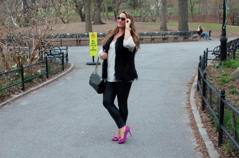 nyc centralpark newyork rebeccaminkoff fashion blog blogger missyonmadison pinkpumps michaelkors shoes fauxfurvest rebeccaminkoff