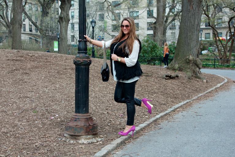 missyonmadison pinkpumps spring centralpark nyc fauxfurvest leatherpants shoes