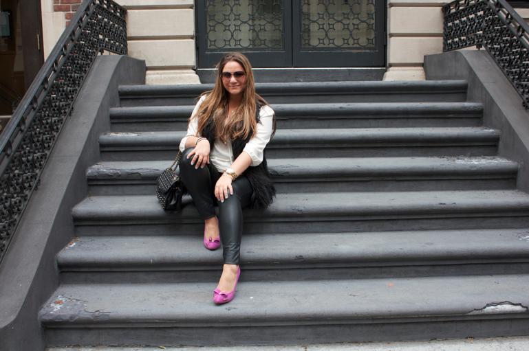 nyc fashion style blog blogger missyonmadison leatherpants fauxfurvest rebeccaminkogg michaelkors pinkpumps