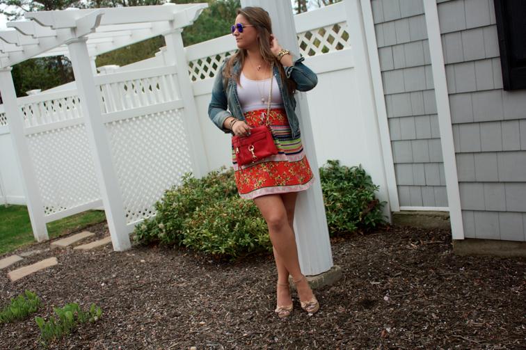 cincodemayo fashion fashionblog blogger style styleblog missyonmadison colorful printedskirt target targetstyle denimjacket rebeccaminkoff myrm