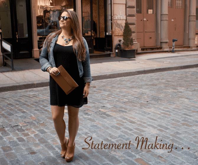 susu bag clutch missyonmadison blog blogger soho nyc cognac stevemadden forever21 denimjacket nordstrom lbd black dress statementnecklace fashion style fashionblog