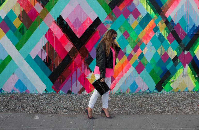 oldnavy bowery muralonbowery missyonmadison nyc soho whitejeans neonpinktops leatherjacket ninewest heels shoes style styleblog blogger blog streetart fashion fashionblog