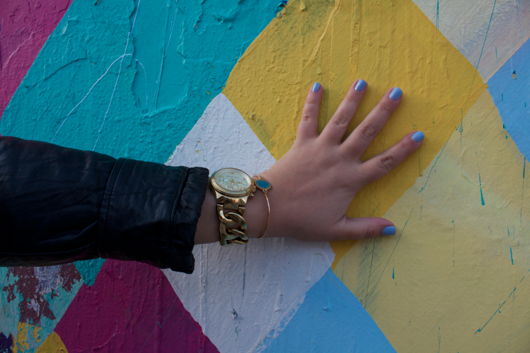 michaelkorswatch goldwatch watch marcjacobsbangle manicure nails essie oldnavy bowery muralonbowery missyonmadison nyc soho whitejeans neonpinktops leatherjacket ninewest heels shoes style styleblog blogger blog streetart fashion fashionblog