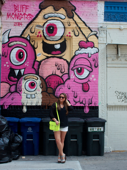 monstermural nyc littleitaly neonbag neoncambridgesatchel fashion style blackchiffontop oldnavy whiteshorts spring summer mural art missyonmadison