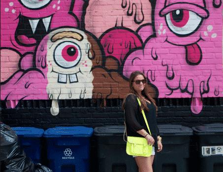 monstermural littleitaly fashion style missyonmadison blog blogger fashionblog whiteshorts neonbag neoncambridgesatchel blacktop oldnavy