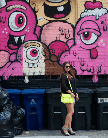 monstermural littleitaly fashion style missyonmadison blog blogger fashionblog whiteshorts neonbag neoncambridgesatchel blacktop oldnavy