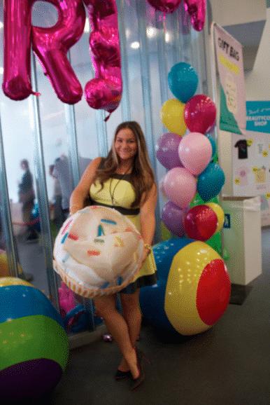 beautycon beautyconnyc nyc events missyonmadison beauty cupcake balloons yellowdress