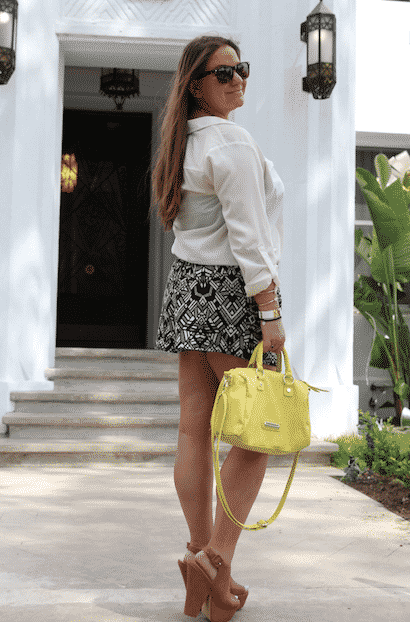 california printedshorts summer style cognacwedges stevemadden neonbag style blog blogger fashionblog missyonmadison trip travel whiteshirt whitebuttondown