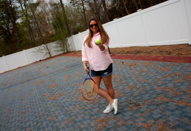 tennis blog blogger missyonmadison sports outdoors fashion style silverconverse buttondownshirt target targetstyle denimshorts
