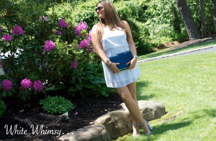 whitetankdress oohlala summer summerstyle missyonmadison blog blogger fashionblog whitechiffondress cobaltbag pinkflowers longisland style styleblog blogger styleblogger