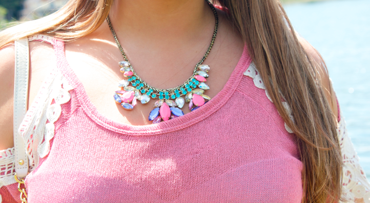 bling accessories shop style missyonmadison handm blog blogger fashionblog pink statementnecklace jewels jewelry necklace