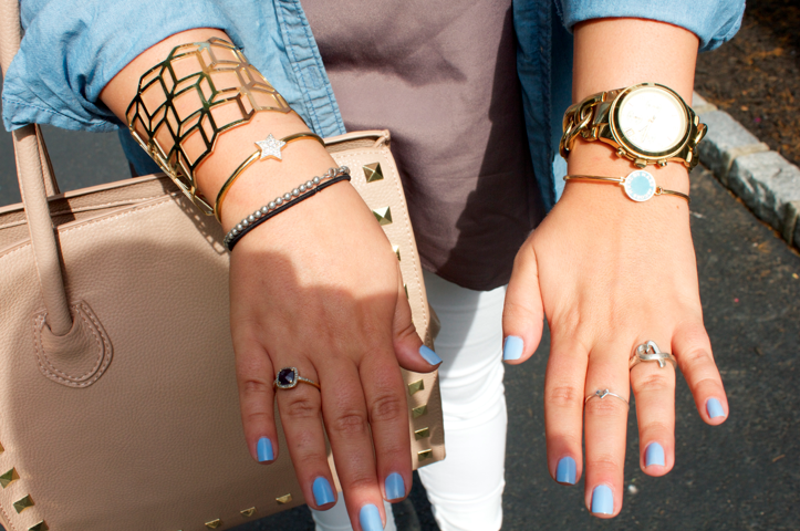 bling armparty jewels gold essie manicure bluenails michaelkors watch goldwatch marcjacobs fashion style blog blogger shop