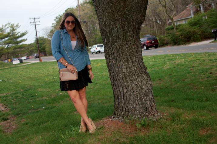 missyonmadison chambray blog blogger fashion style styleblog fashionblog dropwaistskirt coachcrossbody nudewedges