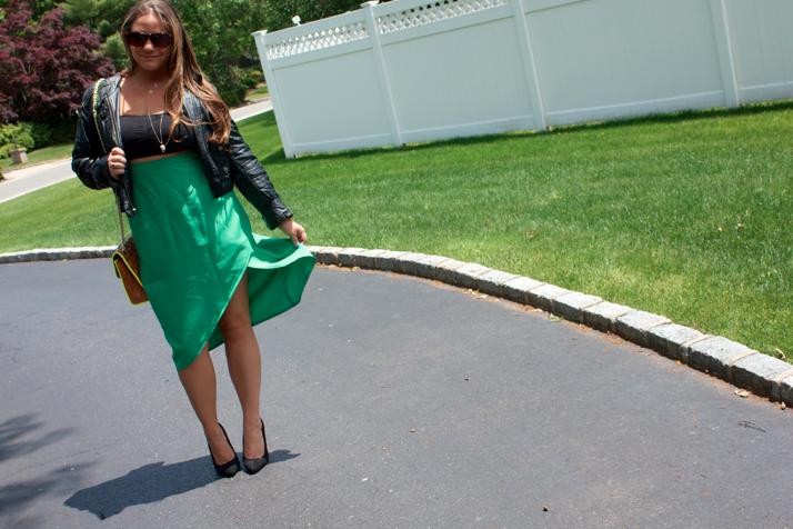 mixxcollection greenpencilskirt fashion blog blogger style styleblog rebeccaminkoffaffairbag rebeccaminkoff myrm shop missyonmadison pencilskirt leatherjacket