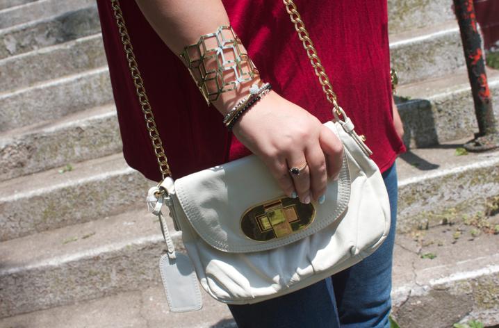badgleymischka whitecrossbodybag handbags missmejeans missyonmadison style blog blogger fashionblog fashionblogger jeans redtop longhair mirrored aviators styleblog styleblogger