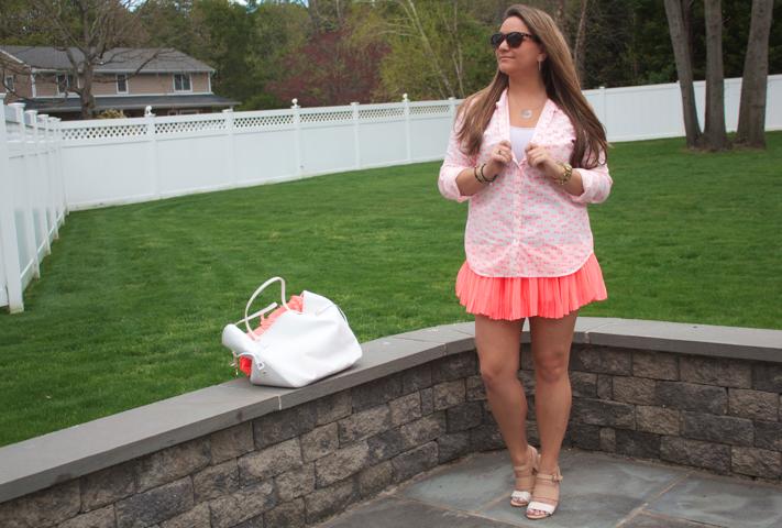 missyonmadison target meronabuttondowntop peachskirt chiffonskirt blog blogger fashion style summer henribendeltote henribendel whiteleathertote beigesandals