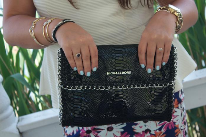 peplumtop floralskirt michaelkorspumps michaelkorsbag blogger missyonmadison snakeskinclutch style fashion fashionblogger