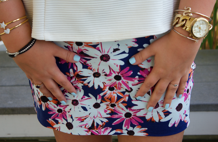 peplumtop floralskirt michaelkorspumps michaelkorsbag blogger missyonmadison snakeskinclutch style fashion fashionblogger bluemanicure essie bling