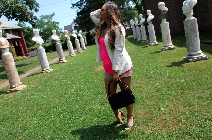 missyonmadison michehandbags oldnavyshorts oldnavyblocksandals style blog blogger fashionblog fashionblogger hamptons hotpink summer whiteblazer