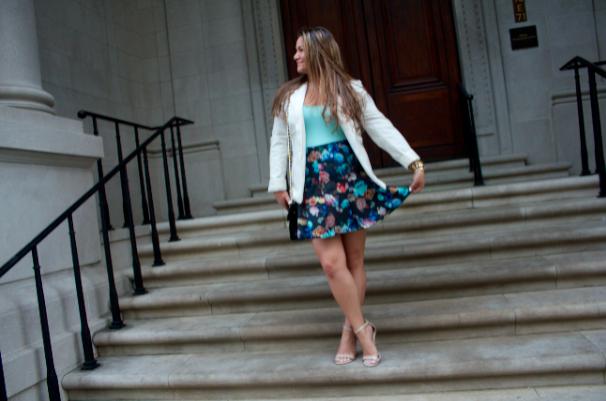 rebeccaminkoff missyonmadison blogger fashionblog styleblog targetscubaskirt scubeskirt whiteblazer nudesandals payless aquatank floralscubaskirt