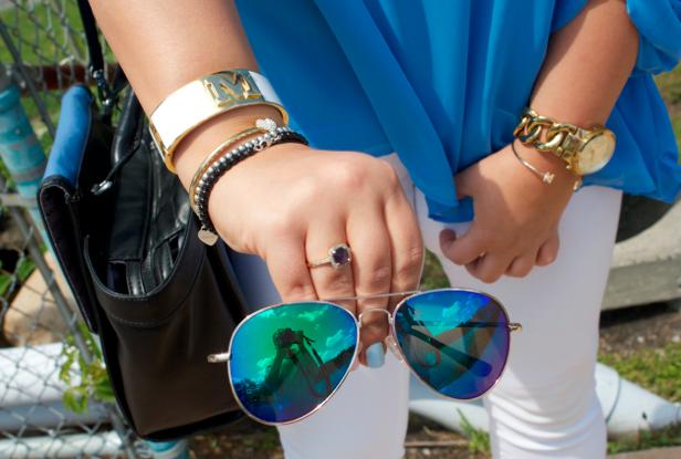 simplyveraverawang kohls whitejeans missyonmadison fashionblogger fashion bluesatchel bluechiffontop style nudeheels mirroredaviators verawang monogramneckalce