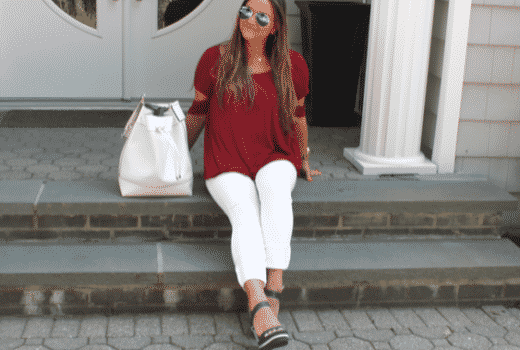 oldnavy whitejeans zoiieboutique vincecamuto vincecamutobucketbag whitebucketbag redtop mirroredaviators nauticalwedges payless shoes summerstyle fashionblog missyonmadison fashionblogger