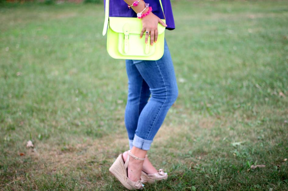 missyonmadison blog blogger fashionblog fashionblogger purplecami lightwashjeans summerstyle neoncambridgesatchel yellowsatchel neonhandbags pinkjewelry candlesandconfetti styleblog styleblogger longisland photography