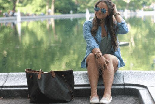 missyonmadison fashionblogger centralpark chambraybuttondownshirt whiteshorts smokingslippers louisvuittonneverfull nyandcompanyshoes summerstyle mirroredaviators raybans nordstromrack shopgenius