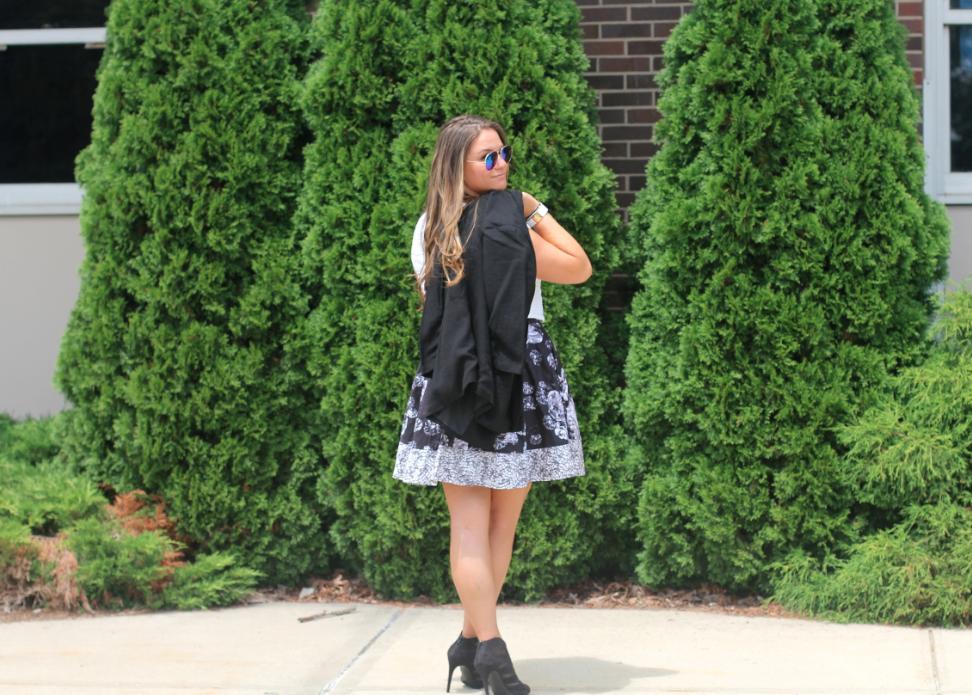 prabalgurungfortarget targetstyle missyonmadison blog blogger streetstyle floralskirt whitecroptop blackbooties blacklaceupheels cobaltblueclutch mirroredaviators blackblazer
