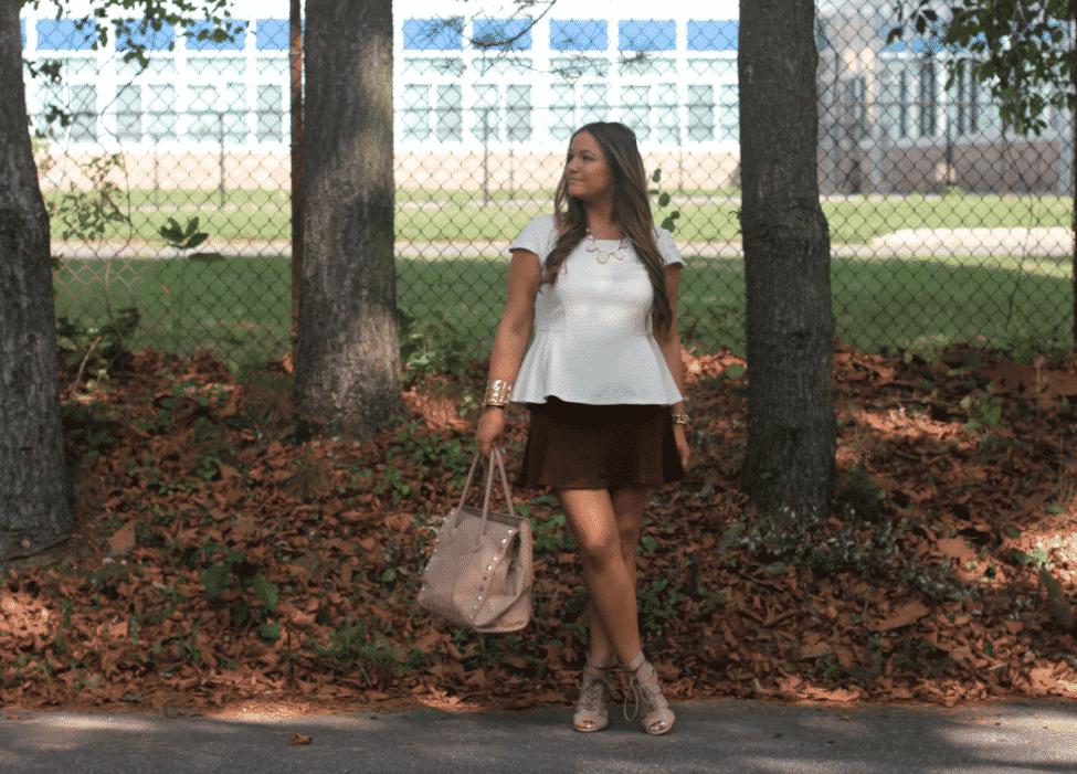 missyonmadison maroonskaterskirt whitepeplumtop lookforless streetstyle fallfashion fashion fashionblog fashionblogger styleblog styleblogger lastcallneimanmarcustote nudestrappybooties nudeopentoebooties laceupnudebooties whitetrianglenecklace brunette fallstreetstyle