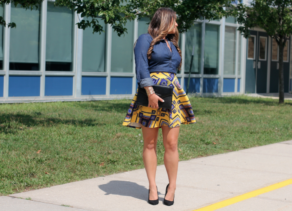 missyonmadison streetstyle target aztecskirt yellowandblueprintedskirt chambraytop darkwashchambraypullover oldnavy oldnavychambraytop blacksuedepumps stevemadden stevemaddensuedepumps blackenvelopeclutch lastcallneimanmarcus brunette curledhair fallfashion fallhairstyle