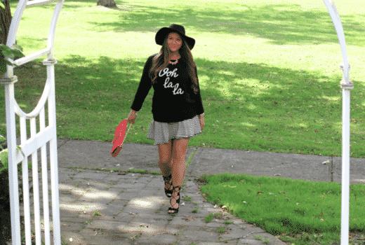 oohlalasweater oldnavy oldnavygraphicsweater missyonmadison pfw parisanchic bloggerstyle stripedskaterskirt streetstyle lookforless oliviaandjoyclutch blackfloppyhat nylablacklaceupheels
