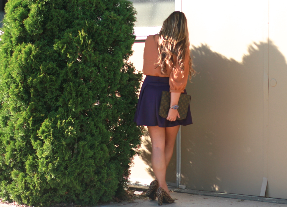 missyonmadison fall fallstyle brownchiffonblouse plumskirt purpleskaterskirt charlotterusse louisvuittonclutch leopardpumps target meronaleopardpumps fashionblogger kingcharlescavalier streetstyle lookforless