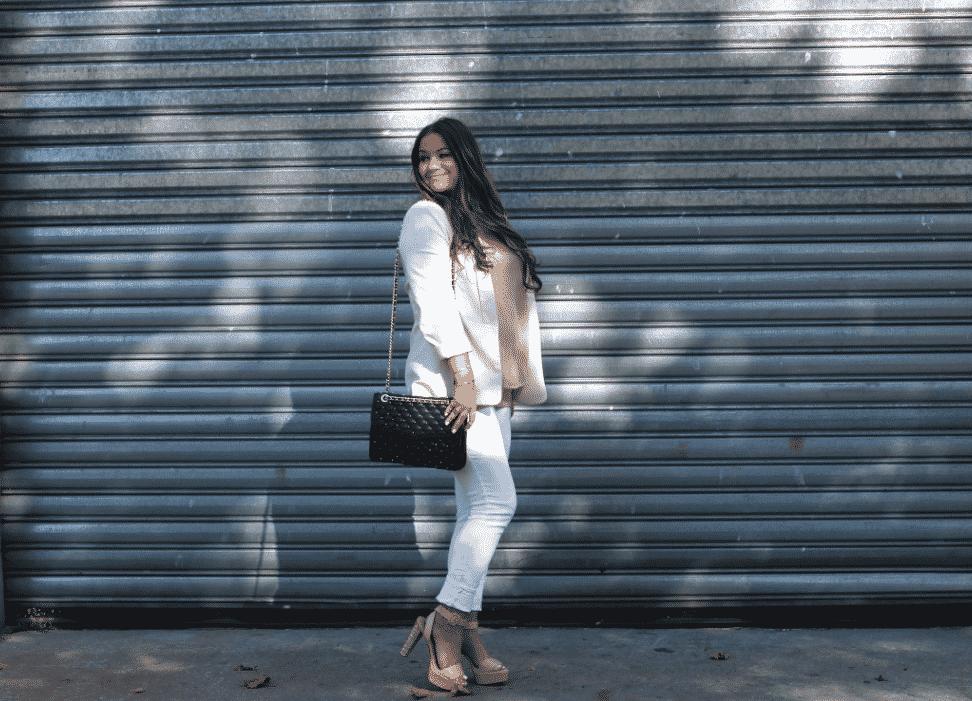missyonmadison fashion whitejeans whiteblazer rebeccaminkoffaffairbag rebeccaminkoff streetstyle zaraheels nudechiffoncami lookforless