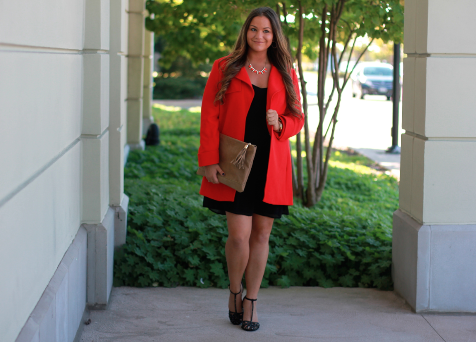 vincecamuto redcoat lordandtaylor ninewest blackstrappyheels lookforless taupesuedeclutch blackchiffoncami fallfashion streetstyle
