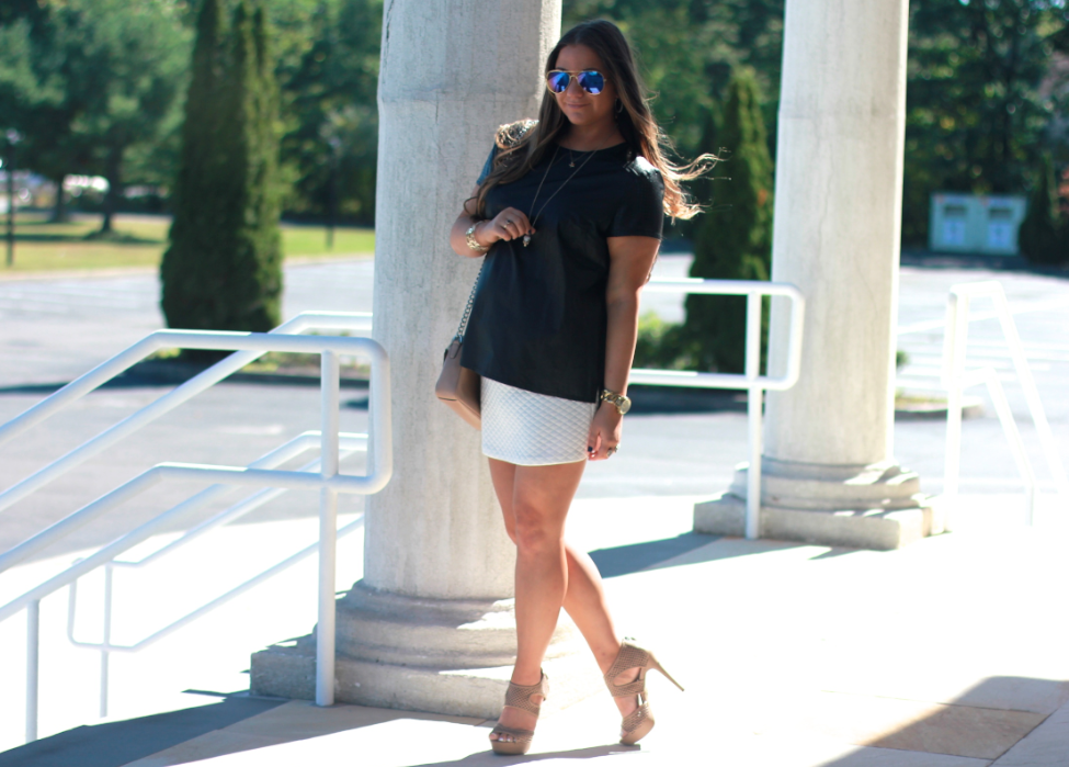 missyonmadison blog blogger fashionblog fashionblogger lordandtaylor whitequiltedskirt kendrascott blackfauxleathertop simplyverawangshoes nudeopentoebooties coach nudechaincrossbodybag mirroredaviators