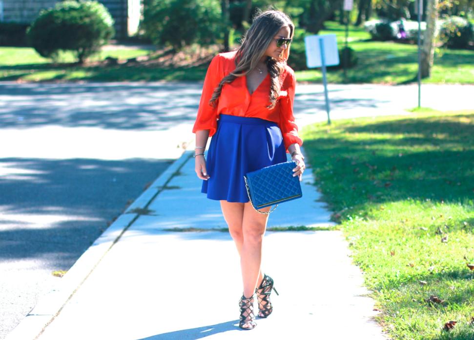 missyonmadison streetstyle fashionblog fashionblogger orangebuttondownblouse cobaltblueskaterskirt cobaltbluequiltedbag orangeraybans ninewestblackstrappyheels prabalgurungfortargetblacksandals longhairdontcare brunettecurledhair fallfashion