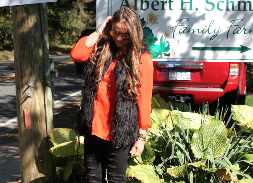 missyonmadison blog blogger longisland halloween orangeisthenewblack orangeblouse blackdistressedjeans rebeccaminkoffminimacbag blackfauxfurvest karenkane fauxfurvest fashionblog fashionblogger blacksuedekneehighboots