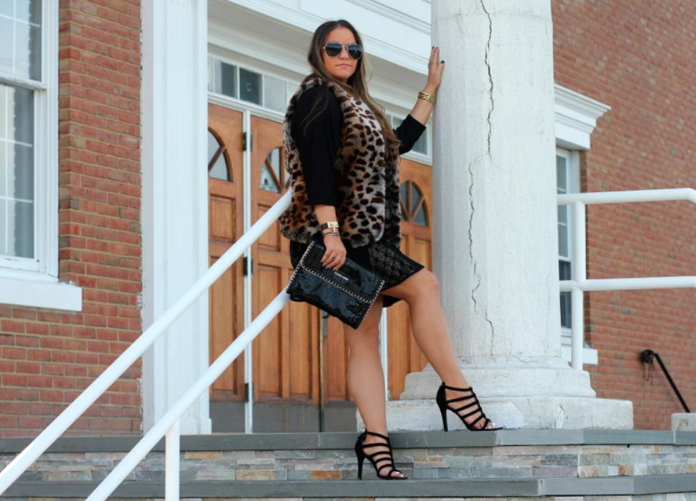 Leopard Faux Fur Vest Black Pleated Skirt Coach Lavania