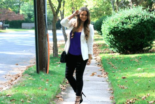 missyonmadison blog blogger fashionblog fashionblogger rockstudpumps rebeccaminkoffaffairbag blackrippedjeans whiteboyfriendblazer purplecamicroptop streetstyle fallfashion longisland