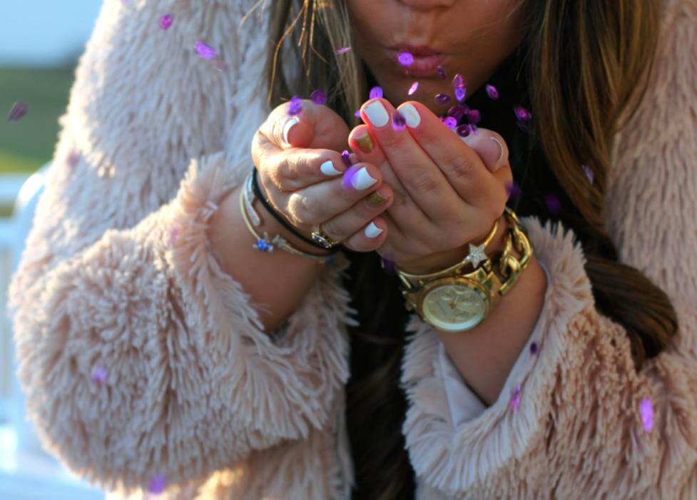 rebeccaminkoffaffairbag missyonmadison fashion fashionblogger longisland nye whattowearfornye newyearseve2014 katespadependant michaelkorswatch newyearstiara beadedminiskirt gucciswavorskicrystalheels poshmark pinkfuzzycoat pinkshaggycoat longhairdontcare longisland