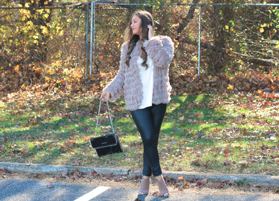 nudeopentoesuedebooties ninewestnudesuedebooties fashionblog fashionblogger longisland hueleatherleggings hue pinkshaggycoat poshmark necessaryclothing michaelkorspythonclutch whitetopshopcamisole missyonmadison blogger