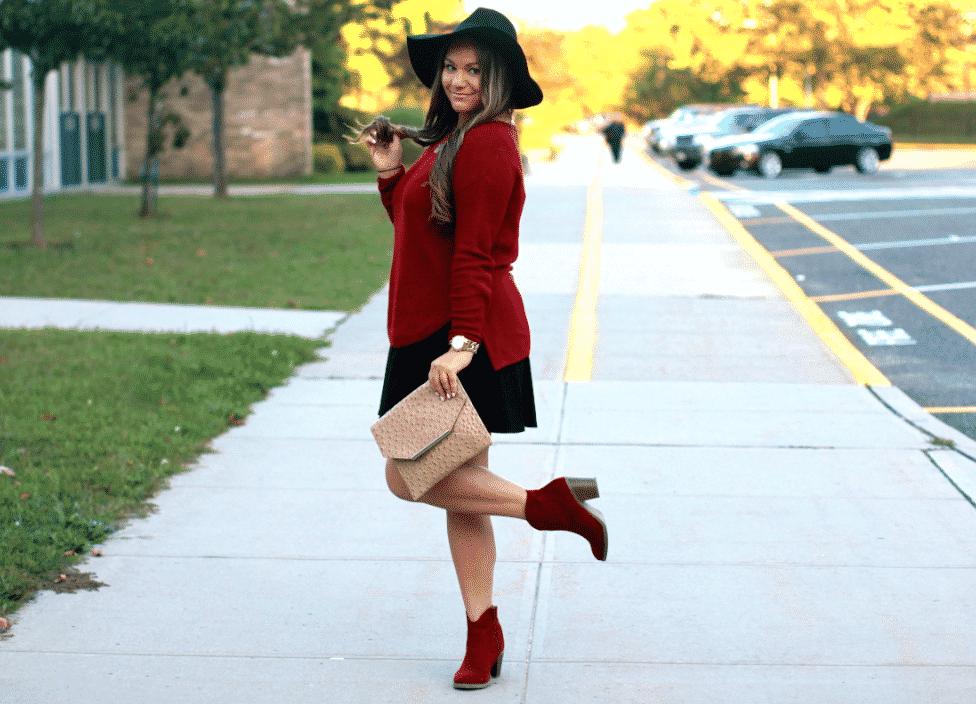 missyonmadison blackfloppyhat longisland blogger redpulloversweater redsuedebooties ostrichclutch poshmark blackskaterskirt winterhairstyle brunettehair