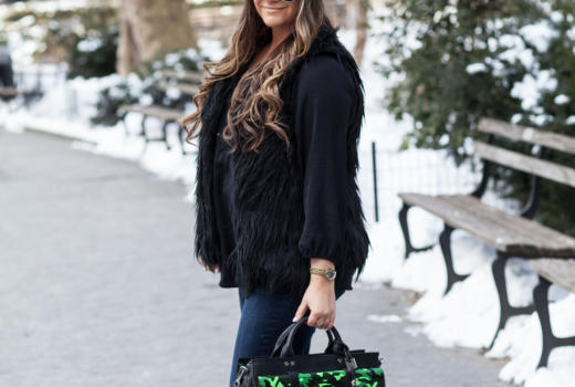 MissyOnMadison AimeeKetsenberg Giveaway CamoSatchel Bootcutjeans NYCStreetStyle BlackFauxFurVest BlackSuedePumps BlackPeasentTop BlackAviators