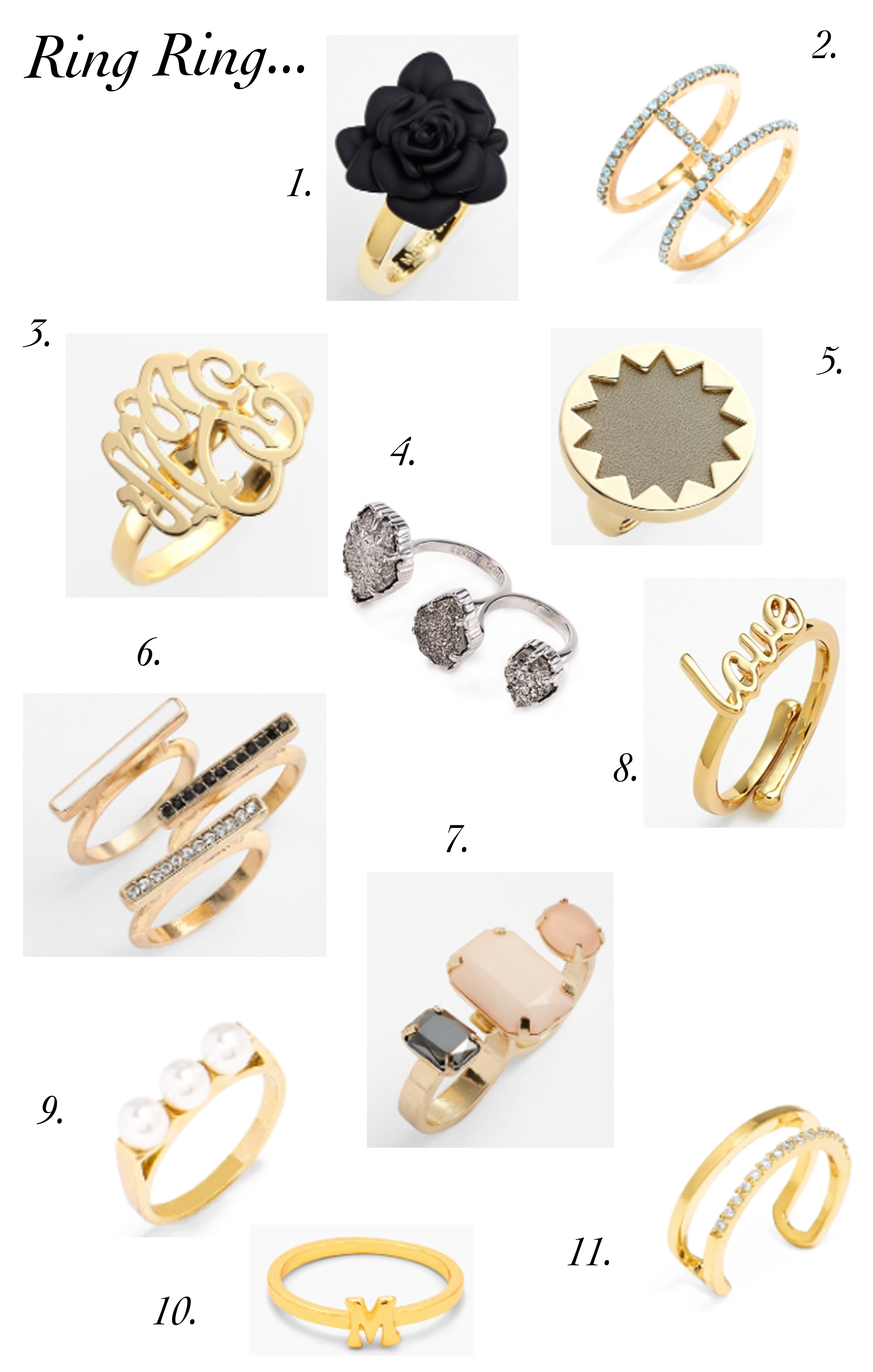 Fashion Rings + Midi Rings Under $150 // Kendra Scott Kate Spade Gorjana Nordstrom Monogram Ring
