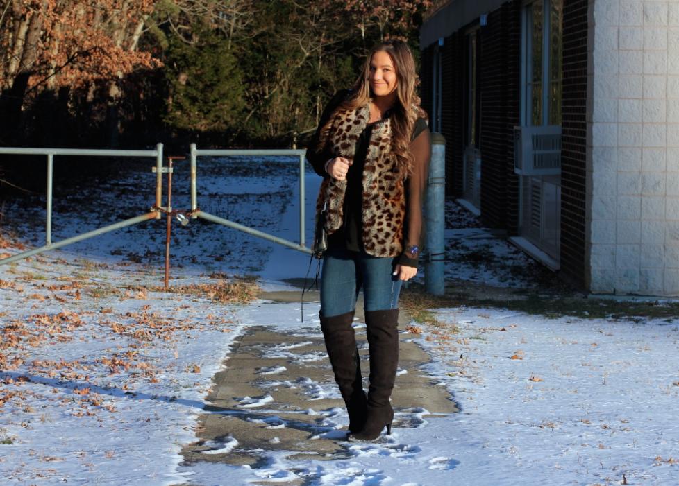 Leopard Faux Fur Vest - Black Suede OTK Boots