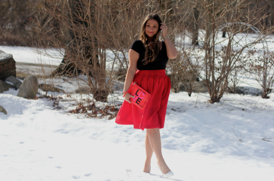 Valentine's Day Outfit Inspo - Red Midi Skirt - White Pointed Pumps - Black Crop Top