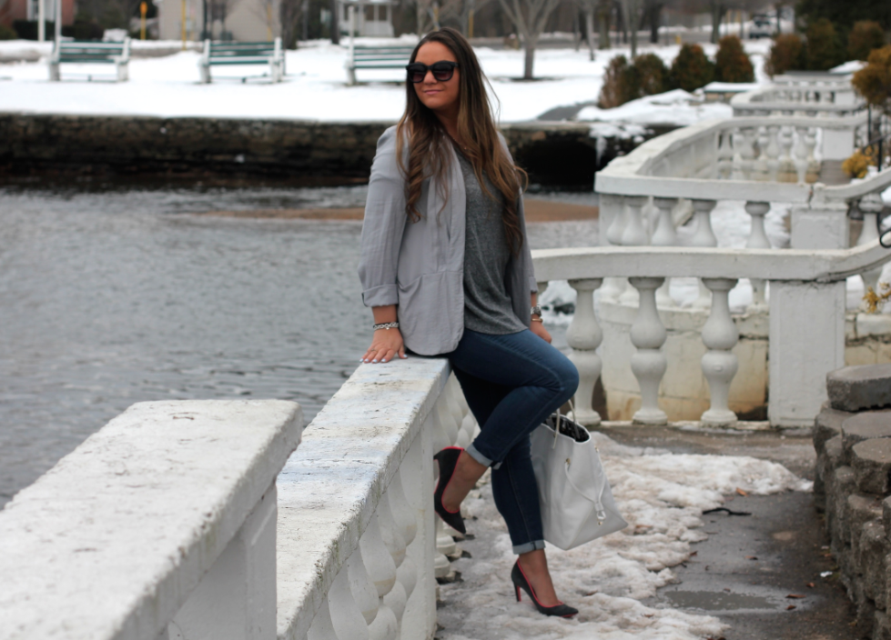 Fifty Shades Of Gray Outfit Inspo - MissyOnMadison.com Gray Blazer Gray V Neck Vigoss Jeans Gray Pumps