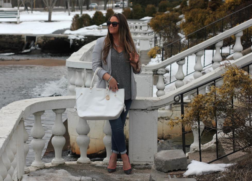 Fifty Shades Of Gray Outfit Inspo - MissyOnMadison.com Gray Blazer Gray V Neck Vigoss Jeans Gray Pumps